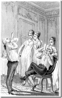 Casanova (a destra) mentre gonfia un condom tra le risate e l'approvazione di tre damigelle